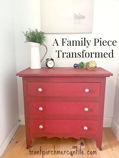 A MMS Red Tricycle Painted Dresser by Front Porch Mercantile