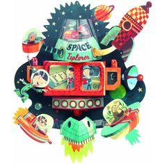 Ένα μοναδικό διακοσμητικό τοίχου της Djeco. Ζωντανεύει μια υπέροχη τρισδιάστατη διαστημική εικόνα! Από σκληρό χαρτί, 37 x 35 x 15 εκ. Spaceship, Christmas Ornaments, Wall Art, Holiday Decor, Peta, Space Ship, Spacecraft, Christmas Jewelry, Craft Space