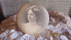 REDUCED Antique Late 1800's Early 1900's Framed Victorian Lady Sepia Tone Portrait Photo Round Metal Easel Back Picture Frame