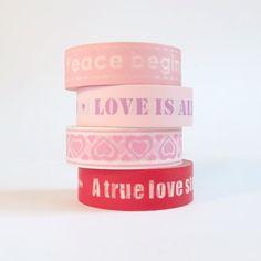 Masking tape, 4 rolls, Pink Love, 10m