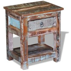 online shopping for vidaXL Solid Reclaimed Wood Side End Table Storage Cabinet Nightstand 1 Drawer from top store. See new offer for vidaXL Solid Reclaimed Wood Side End Table Storage Cabinet Nightstand 1 Drawer Reclaimed Wood Side Table, Rustic Side Table, Wooden Side Table, Side Table With Storage, Table Storage, Furniture Making, Furniture Decor, Bedroom Furniture, Retro Furniture