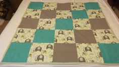 Grey Teal Baby Quilt  Elephant Baby Quilt  by TakeTwoBabyQuilts, $45.00