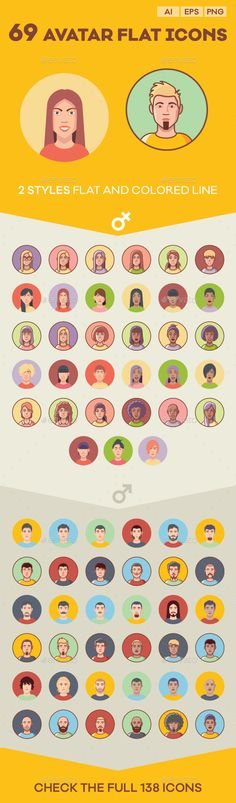 Avatar Flat Icon Set — Transparent PNG #flat icon #people • Available here → https://graphicriver.net/item/avatar-flat-icon-set/10043379?ref=pxcr