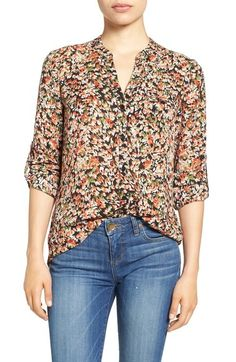 KUT from the Kloth 'Jasmine' Print Roll Sleeve Blouse available at #Nordstrom