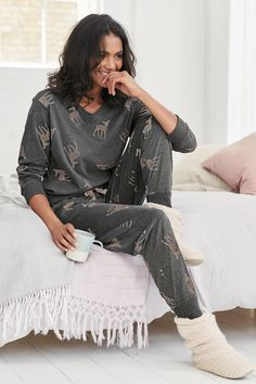 Step into hibernation mode this Monday with these Deer Print Jersey Pyjamas from Next.