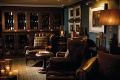 In Edinburgh's historic Old Town, this Hotel Du Vin has uniquely styled bedrooms in a former city asylum. Whiskey Lounge, Whiskey Room, Office Wall Cabinets, Bar Furniture, Furniture Design, Modern Furniture, Automotive Furniture, Automotive Decor, Handmade Furniture