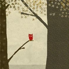 la foret 3 - Art  - Owl - Tree - Children Wall Art - digital Illustration - Nursery Art Print - Baby Wall Decor