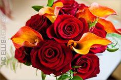 Red and orange wedding bouquet