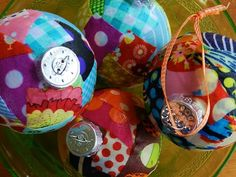 Mod Podge fabric ornaments - fabric easier on round balls than paper
