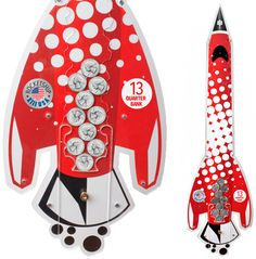 Rocketship Wall Coin Bank by SaveUp Banks. Available online at http://saveupbanks.com