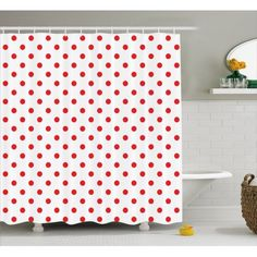 Red Shower Curtain, Classical Pattern with Country Picnic Theme Retro Style Polk.- Red Shower Curtain, Classical Pattern with Country Picnic Theme Retro Style Polk… Red Shower Curtain, Classical Pattern with Country… - Girl Bathrooms, Baby Bathroom, Bathroom Red, Bathroom Paint Colors, Simple Bathroom, Country Bathrooms, Bathroom Cabinets, Bathroom Decor Signs, Bathroom Ideas