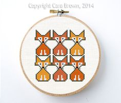 Fox Cross Stitch Pattern Instant Download Easy Needlepoint Cute Baby Cubs digital on Etsy, $5.00