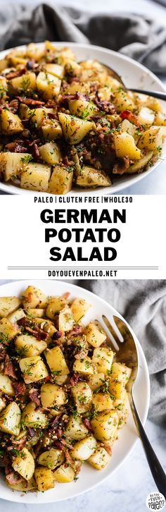 and Paleo German Potato Salad - this simple potato salad recipe uses Yukon Gold potatoes, bacon, fresh herbs, and a bacon fat vinaigrette for full flavor and easy prep. This side dish recipe is perfect for summer potlucks and barbecues! Paleo Recipes Easy, Whole 30 Recipes, Potato Recipes, Lunch Recipes, Healthy Dinner Recipes, Whole Food Recipes, Salad Recipes, Paleo Meals, Paleo Diet