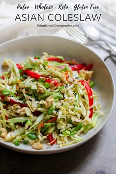 This #Whole30 and #Paleo Asian Coleslaw is a delicious and refreshing side dish to any meal that's packed with all the healthy veggies. You'll love the crunchy addition of toasted cashews as well.#glutenfree #salad #dairyfree #lowcarb #keto #lchf