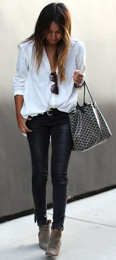 Julie Sariñana : white shirt, black skinny leather pants, black Goyard Saint Louis bag & Isabel Marant Dicker ankle boots
