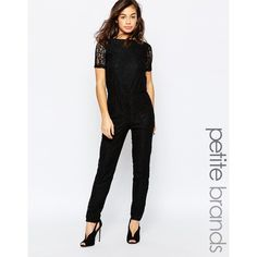 Miss Selfridge Petite Choker Lace Jumpsuit, Black ($74) ❤ liked ...