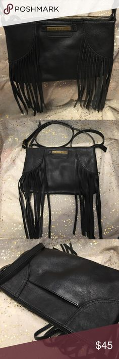 Fringed Leather bag Black bag with a 1970s feel. New bag that has not been carried. Strap is adjustable so long enough to carry as a cross or shoulder bag! andrea jovine Bags Crossbody Bags