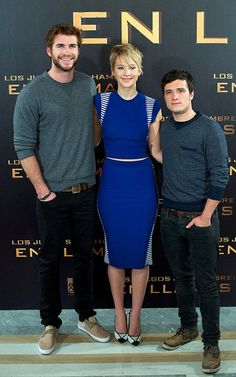 Liam Hemsworth, Jennifer Lawrence, and Josh Hutcherson at the Catching Fire photocall in Madrid on November 13, 2013.