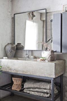 Plan de toilette beton brut Novoceram via Nat et nature