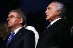 Cerimônia de abertura Rio-2016: Michel Temer e Thomas Bach