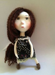 Elle Paper clay Art Doll in handmade by onwindycastle on Etsy