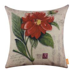 "18"" Vintage Red Daisy Flower Spring Linen Throw Cushion Cover Home Sofa Decor"