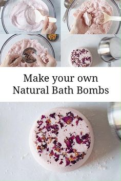 Use this customizable bath bomb recipe with your choice of flower petals, herbs, colorants, oils, and fragrance. Also includes recipes for oatmeal rose bath bombs and pink grapefruit bath bombs diy green tea diy ideas diy makeup diy recipes diy teen Homemade Soap Recipes, No Salt Recipes, Bath Salts Recipe, Bath Bomb Recipes, Diy Bath Tea Recipes, Bombe Recipe, Bath Fizzies, Home Made Soap, Homemade Beauty