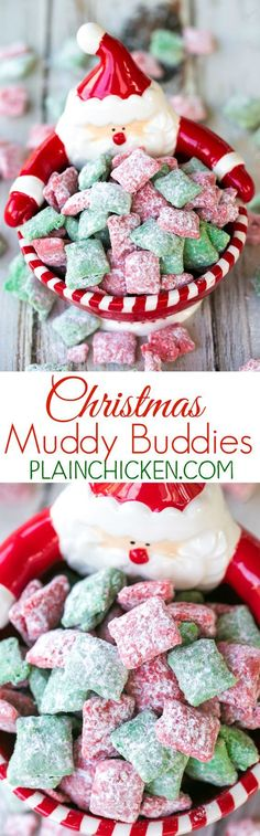 Christmas Muddy Buddies - chex cereal tossed in peanut butter, red and green candy melts and powdered sugar. This stuff is SO good! I am totally addicted to it! This recipe makes a TON! Makes a great homemade gift for the holidays! desserts for christmas Christmas Snacks, Christmas Cooking, Christmas Goodies, Christmas Christmas, Christmas Puppy Chow, Italian Christmas, Christmas Appetizers, Christmas Parties, Christmas Ideas
