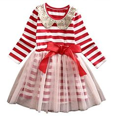 a3effe84b0b Christmas Stripes Kids Girls Dress 2017 Spring Autumn Princess Red Long  Sleeve O-neck Sequins Tulle Tutu Dresses Party Costume