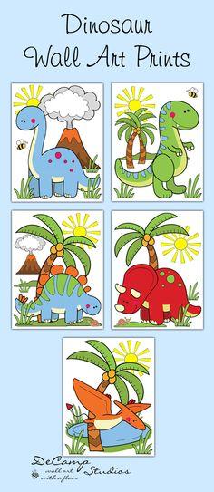 Dinosaur Wall Art Prints OR Decals Boys Bedroom Stickers Decor #decampstudios