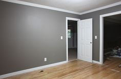grey walls + white trim. I think I like that! Leave the ceiling white, or very light grey!