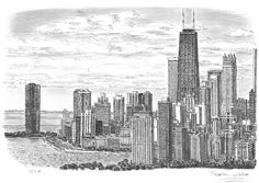 Chicago Skyline - drawings and paintings by Stephen Wiltshire MBE Chicago Skyline Drawing, Stephen Wiltshire, Landscape Pencil Drawings, Chicago Poster, Uk Landscapes, London Landmarks, City Landscape, Urban Sketchers, City Art