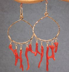 Rio 54 Halfround hoop with red branch coral by CalicoJunoJewelry