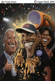 Joe Biden, Barrack Obama, Michelle Obama celebration-by Court Jones. The teeth, look at the teeth! Rolling...