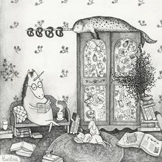 illustration, animal, narwhal, cat, dog, book, interior, pattern, naive.  Unicorn house Art Print