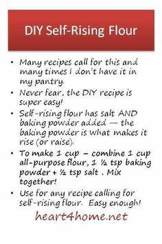Baking Secrets, Baking Tips, Baking Recipes, Baking Hacks, Cake Recipes, Homemade Dry Mixes, Homemade Spices, Food Substitutions, Self Rising Flour