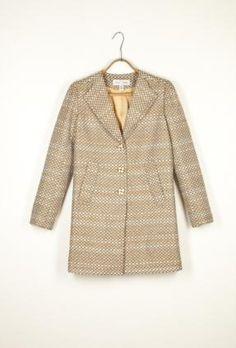 Grey and Gold Tweed Long Jacket