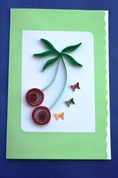 Red Circular flowers with Butterflies- Handmade Quilling Greeting Card