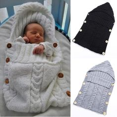 Newborn Infant Baby Blankets Swaddle Wrap Wood Button Tassel Cap Sweater Toddler Knitted Sleeping Bag Sleep Sack Stroller Wrap