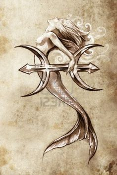 Mermaid with my birth sign! Love it! Looks like a trident