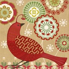 Scandinavian Holiday-Flower Bird -- by Jennifer Brinley [one of five Scandinavian holiday bird designs; five coordinating patterns as well] Christmas Colors, Christmas Art, Christmas Projects, Rustic Christmas, Bird Illustration, Illustrations, Decoupage, Scandinavian Holidays, Bird Applique