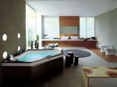 Excellent Luxury Bathroom Eastern Design With Contemporary Bathtub Also Wooden Panel Flooring And Walls - pictures, photos, images