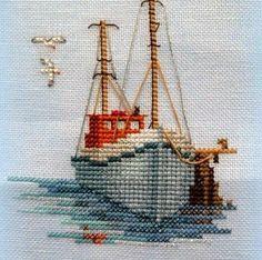Cross Stitch Embroidery Fishing Boat - Minuets - Cross Stitch Kit from Derwentwater Designs Cross Stitch Sea, Beaded Cross Stitch, Counted Cross Stitch Kits, Cross Stitch Charts, Cross Stitch Designs, Cross Stitch Embroidery, Embroidery Patterns, Cross Stitch Patterns, Cross Stitch Geometric