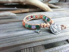 Beginnings Bracelet/ Handmade Japanese Power Stone Gemstone Layer Leather Wrap OM yoga Bracelet/Spiritual Meditation Jewelry/ Gift of Nature