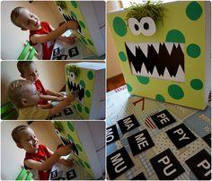 sylabowe potwory, recykling dla dzieci, pudełka, coś z niczego, potwory z pudełka, potwory z butelek,nauka przez zabawę, nauka czytania
