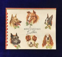 Gorgeous 1950 Boston terrier, Scottish terrier, German Shepherd, Wire Fox terrier and Cocker spaniel Christmas card. Available at Yellow Dog Antiques on Etsy.