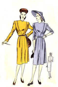 1940s Dress Pattern - Vogue Special Design S-4681 - Curved Lapped Seam Bodice Detail