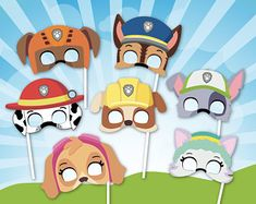 Paw Patrol birthday party - Paw Patrol inspired masks, Paw Party Photo Booth Props   Printable Paw  Masks, Pup Patrol Birthday Photo Props, Pup patrol #pawpatrol #kidsbday #ad