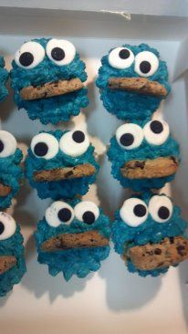 Cookie Monster cupcakes...Adam and I made for the boys second birthday party at Magic Castle