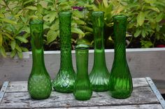 5 Green Glass Vases by TwinsTreasureTrove on Etsy